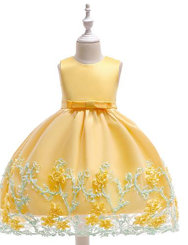 preiswerte Schleifen-Mädchenkleidung-Kinder Mädchen Aktiv Grundlegend Party Geburtstag Solide Blumen Schleife Ärmellos Knielang Kleid Rosa / Baumwolle