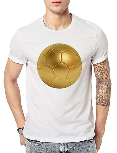 preiswerte FIFA Fußball-Weltmeisterschaft-Herrn Geometrisch - Aktiv / Grundlegend Sport T-shirt, Rundhalsausschnitt Druck Weiß / Kurzarm