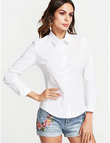 billige Skjorter til damer-Bomull Skjortekrage Skjorte Dame Broderi / Trykt mønster Gatemote Dusty Rose Hvit / Vår / Høst