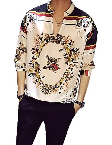 billige Vintage-Opprett krage Skjorte Herre - Blomstret, Trykt mønster Vintage Hvit / Vår / Sommer