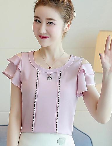 billige Dametopper-T-skjorte Dame - Ensfarget Grunnleggende Dusty Rose Hvit / Drapering