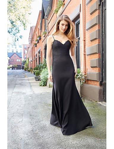 9031407d2 Trompeta   Sirena Tirantes Spaghetti Hasta el Suelo Punto Vestido de Dama  de Honor con Encaje por LAN TING BRIDE®   Espalda Abierta 6697663 2019 –   149.99