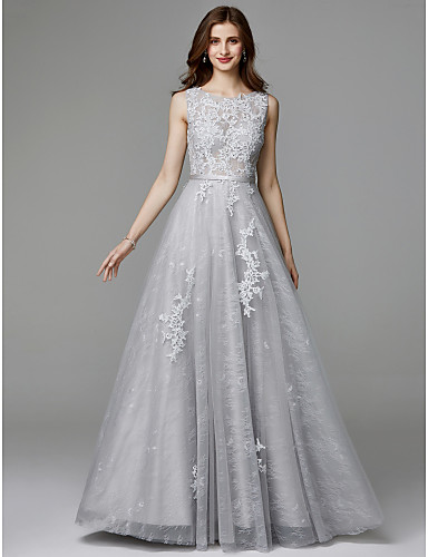 cheap Special Occasion Dresses-A-Line Elegant Floral Open Back Formal Evening Wedding Party Dress Jewel Neck Sleeveless Sweep / Brush Train Lace Tulle with Appliques 2020