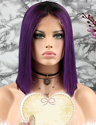 povoljno Perike s ljudskom kosom-Remy kosa Lace Front Perika Bob frizura Stepenasta frizura stil Brazilska kosa Ravan kroj Ljubičasta Perika 130% Gustoća kose s dječjom kosom 100% Djevica Žene Kratko Perike s ljudskom kosom Luckysnow