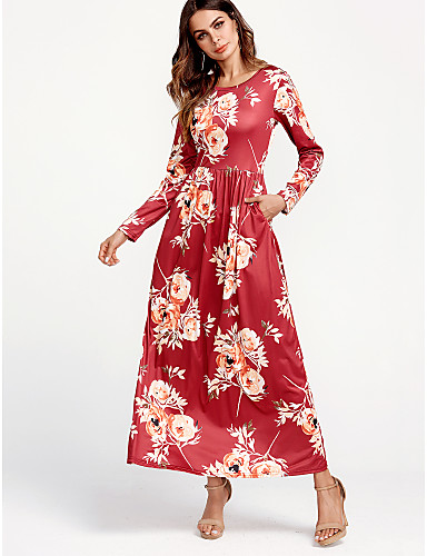 6778864fb389 Women's Floral Sports Casual / Daily Street chic Maxi T Shirt Dress -  Floral Summer Blue Black Red M L XL / Loose 6429887 2019 – $5.70