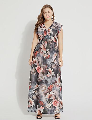 voordelige Maxi-jurken-Dames Grote maten Boho Wijd uitlopend Jurk - Bloemen V-hals Maxi Hoge taille / Hoge taille