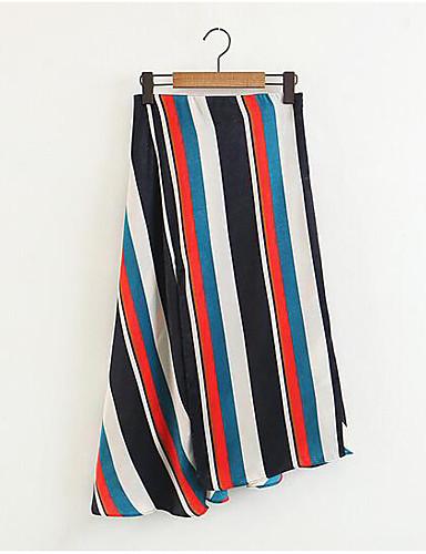 86b526fdb23f Dame Vintage Bomuld   Hør   Akryl Bodycon Nederdele Stribet Sort   Rød