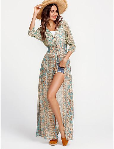 voordelige Maxi-jurken-Dames Feestdagen Uitgaan Standaard Boho Chiffon Jurk - Geometrisch Kleurenblok V-hals Maxi Hoge taille / Hoge taille