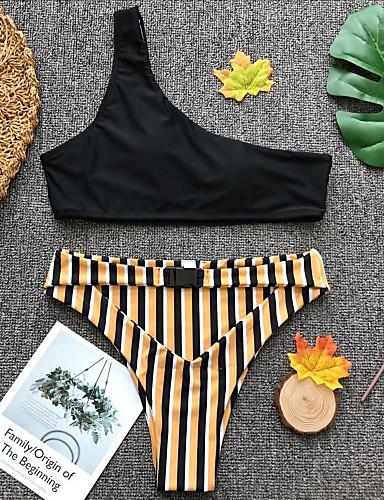 832df1fcee40 [$18.80] Mujer Básico Sin Tirantes Negro Bandeau Pícaro Bikini Bañadores -  Un Color A Rayas S M L Negro / Sexy