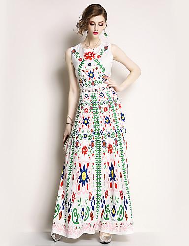preiswerte Im Trend 2019-Damen Festtage Grundlegend / Street Schick Swing Kleid Blumen Maxi