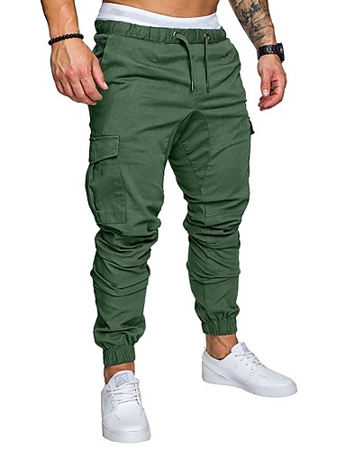 cheap 2020 Trends-Hiking Pants Men's Basic Plus Size Daily wfh Sweatpants / Cargo Pants - Solid Colored Spring Fall Navy Blue Khaki Light gray XXL XXXL XXXXL