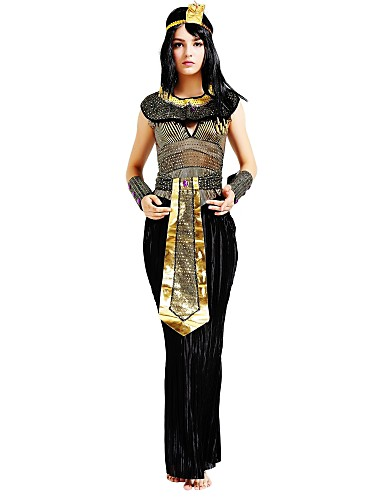 povoljno Maske i kostimi-Egipatski kostimi Kleopatra Drevni Egipt Halloween Haljine Povorka maski Kostim Žene Kostim Crn Vintage Cosplay / Haljina / Pojas / Šeširi / Neckwear / Csuklóvédő