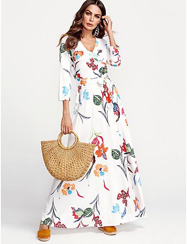 voordelige Maxi-jurken-Dames Grote maten Street chic Katoen Schede Jurk - Bloemen, Print V-hals Maxi Wit
