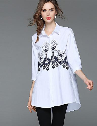 billige Topper til damer-Bomull Løstsittende Skjortekrage Skjorte Dame - Blomstret, Broderi Grunnleggende / Gatemote