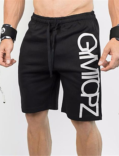cheap Massive Clearance Sale-Men's Running Shorts Athletic Baggy Shorts Drawstring Cotton Fitness Gym Workout Exercise Breathable Quick Dry Sweat-wicking Sport Black Letter / Stretchy
