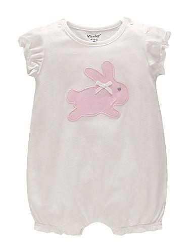 preiswerte Ausverkauf-Baby Unisex Grundlegend Alltag Solide Kurze Ärmel Baumwolle Einzelteil Weiß