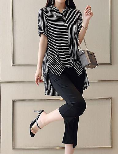 billige Dametopper-Dame Arbeid Gatemote / Sofistikert Store størrelser Sett Bukse - Delt, Stripet Crew-hals / Sommer / fin Stripe