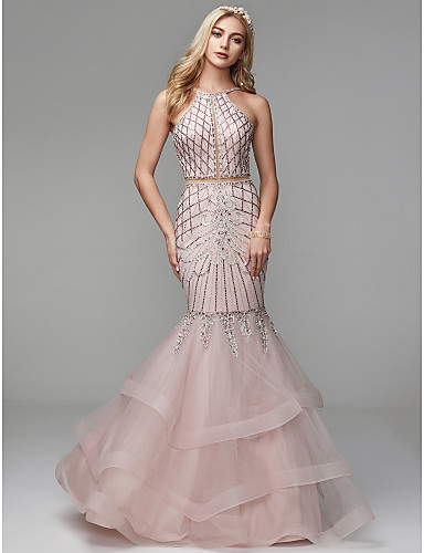 179 99 Mermaid Trumpet Halter Neck Floor Length Tulle Open Back Two Piece Formal Evening Dress With Beading By Ts Couture