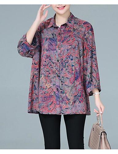 billige Skjorter til damer-Skjortekrage Skjorte Dame - Geometrisk Grunnleggende Svart