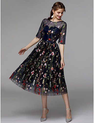 cheap Special Occasion Dresses-Back To School A-Line Floral Black Holiday Cocktail Party Dress Illusion Neck Half Sleeve Tea Length Organza Satin Chiffon with Embroidery Appliques 2020 Hoco Dress