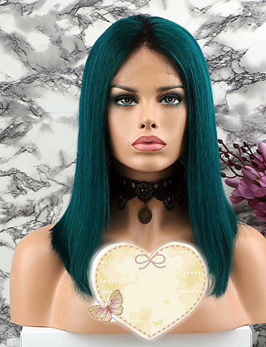povoljno Perike s ljudskom kosom-Remy kosa Netretirana  ljudske kose Lace Front Perika Bob frizura stil Brazilska kosa Ravan kroj Zelena Perika 130% Gustoća kose s dječjom kosom neprerađenih Bojanje Izbijeljeni čvorovi Žene Kratko
