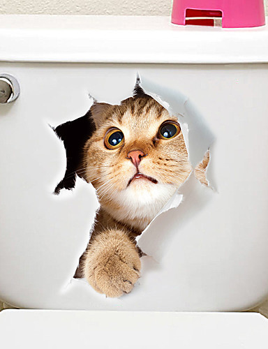 preiswerte HomeSweetHome-Kühlschrank Sticker Bad Sticker - Tier Wandaufkleber Tiere 3D Wohnzimmer Schlafzimmer Badezimmer Küche Esszimmer Studierzimmer / Büro