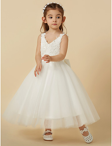52acfc38b5c6 A-Line Knee Length Flower Girl Dress - Lace / Tulle Sleeveless V Neck with  Bow(s) by LAN TING BRIDE® 4526487 2019 – $56.99
