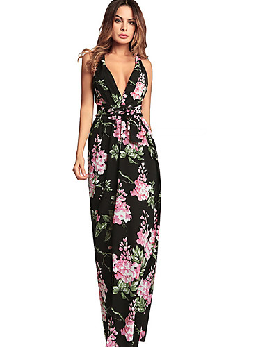 1a8cdf2524b1 Women s Backless Daily Holiday Vintage Basic Maxi Slim T Shirt Swing Dress  - Floral Backless High Waist Strap Off Shoulder Deep V Summer Black L XL  XXL ...