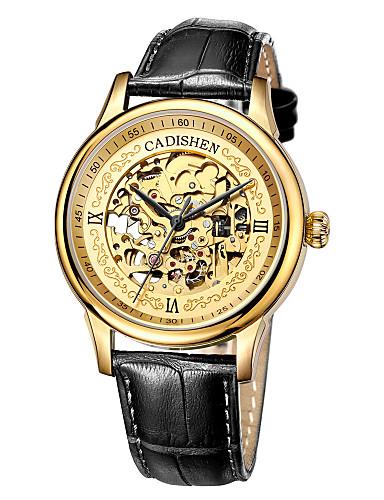 4f49b6c507ee CADISEN Men s Skeleton Watch Mechanical Watch Japanese Genuine Leather Black    Brown 50 m Water Resistant   Waterproof Hollow Engraving Analog Luxury ...