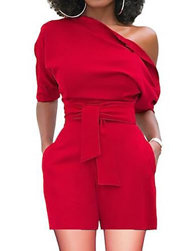 billige Jumpsuits og sparkebukser til damer-Dame Grunnleggende Enskuldret Rød Gul Vin Bred Bukseben Sparkedrakter, Ensfarget L XL XXL Høy Midje Kortermet Sommer