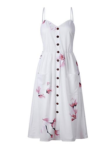 preiswerte Slip-Kleider-Damen Grundlegend Schlank Hülle Kleid - Rückenfrei Druck, Geometrisch Einfarbig Midi Gurt Staubige Rose