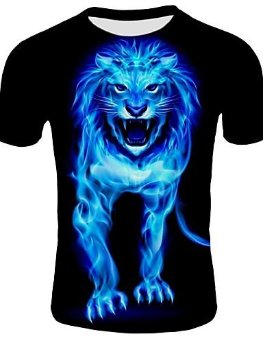 voordelige Heren T-shirts & tanktops-Heren Print T-shirt Katoen, Strand dier Ronde hals Slank Leeuw Zwart / Korte mouw