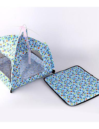 preiswerte Hundebetten & Decken-Hunde Katzen Zelt-Höhlenbett Haustier Haus Nylon Haustiere Matten & Polster Punkt Cartoon Design Atmungsaktiv Klappbar Zelt Fuchsia Blau