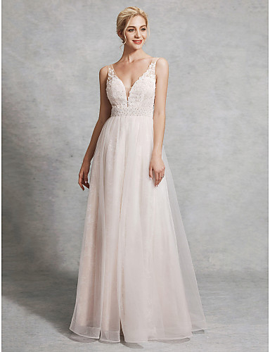 cheap Wedding Dresses-A-Line V Neck Floor Length Lace / Satin / Tulle Regular Straps Wedding Dresses with Beading 2020