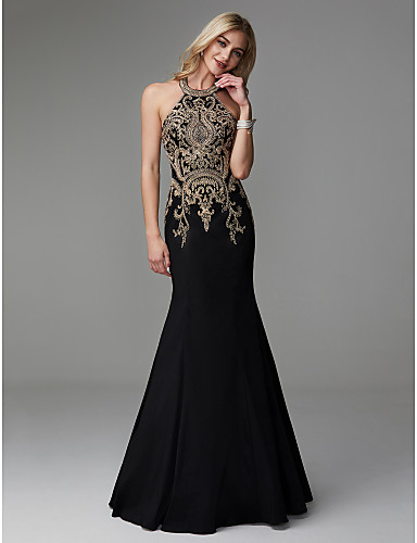 cheap Special Occasion Dresses-Mermaid / Trumpet Elegant Chinese Style Vintage Inspired Prom Formal Evening Dress Halter Neck Sleeveless Floor Length Taffeta with Beading Appliques 2020