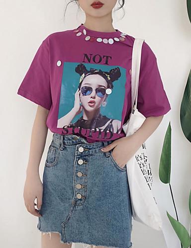e41f5c3ce098 Γυναικεία T-shirt Βασικό - Βαμβάκι Πορτραίτο Στρογγυλή Ψηλή Λαιμόκοψη Φαρδιά  Πούλιες   Στάμπα   Καλοκαίρι 6700841 2019 –  10.79