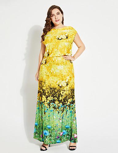 levne Maxi šaty-Dámské Dovolená Šik ven Tričko Šaty - Květinový Maxi Úzký výstřih