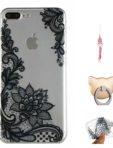 Etui Til Apple iPhone X / iPhone 8 Plus / iPhone 8 Mønster Bakdeksel Tegneserie / Blonde Print / Blomsternål i krystall Myk TPU