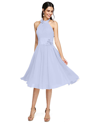 cheap Bridesmaid Dresses-A-Line High Neck Knee Length Chiffon Bridesmaid Dress with Sash / Ribbon / Flower / Pleats by LAN TING BRIDE® / Beautiful Back