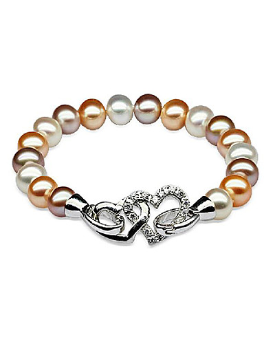preiswerte Armband Sterlingsilber-Damen Perlen Süßwasserperle Perlenarmband Herz damas Einfach Modisch Elegant Edelstahl Armband Schmuck Silber Für Party Geschenk / S925 Sterling Silber