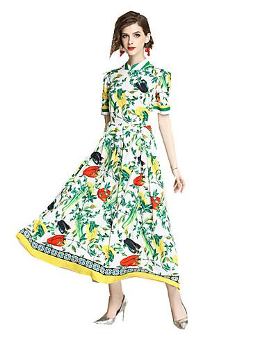 levne Maxi šaty-Dámské Čínské vzory Pouzdro Šaty - Geometrický, Tisk Maxi