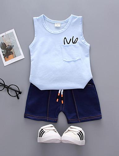 preiswerte Ausverkauf-Kinder Baby Jungen Aktiv Grundlegend Alltag Festtage Solide Druck Ärmellos Standard Baumwolle Kleidungs Set Rosa