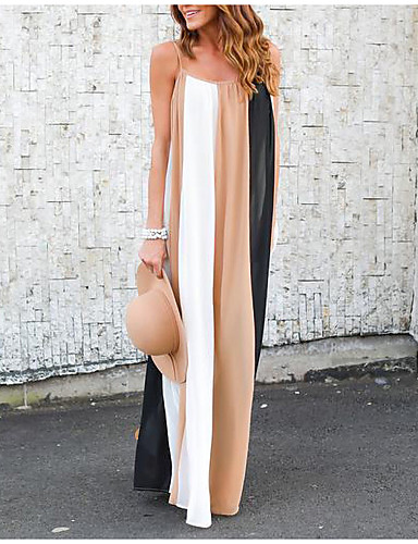 voordelige Maxi-jurken-Dames Uitgaan Strand Boho Ruimvallend Wijd uitlopend Jurk - Gestreept Maxi / Sexy