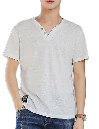 preiswerte Heißer, weißer Sommer-Herrn Solide - Grundlegend Baumwolle T-shirt, V-Ausschnitt Weiß / Kurzarm / Sommer