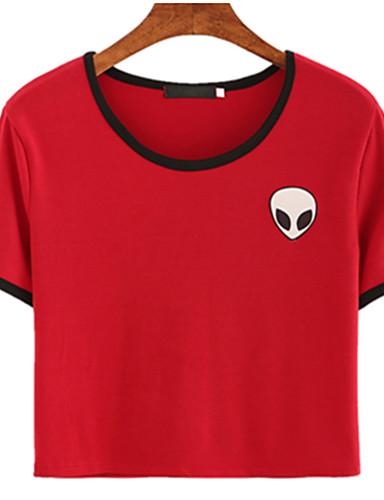 billige Topper til damer-T-skjorte Dame - Ensfarget Søtt Dusty Rose Rød