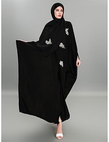 preiswerte Arabische Kleidung-Damen - Krüwelle / Beflockung / Blumenmuster Street Schick / Anspruchsvoll Arbeit Lang Abaya Jacquard / Bestickt