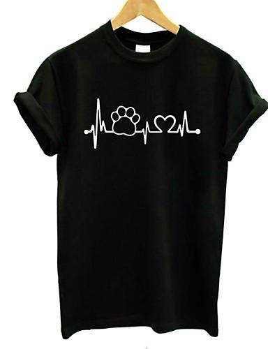 billige T-skjorter til damer-Bomull Crew-hals T-skjorte Dame - Grafisk, Trykt mønster Grunnleggende Ferie Hvit / Sommer