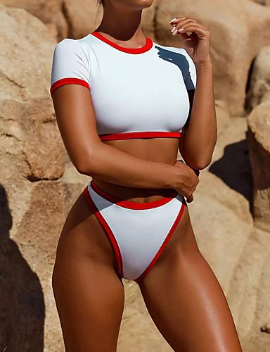preiswerte Trendige Farben des Sommers-Damen Grundlegend Gurt Blau Rote Bandeau Tanga-Bikinihose Bikinis Bademode - Solide S M L Blau / Sexy