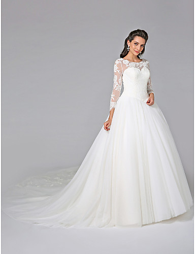 Ball Gown Illusion Neck Cathedral Train Tulle / Floral Lace Made-To-Measure Wedding Dresses Appliques / Button LAN TING BRIDE® / Illusion Sleeve / See-Through / Beautiful Back