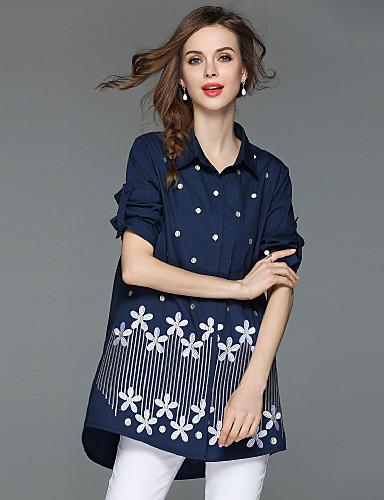 billige Dametopper-Bomull Løstsittende Skjortekrage Skjorte Dame - Blomstret, Broderi Gatemote